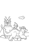 Coloring page dragon in front of castle