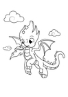 Coloring page dragon in the sky