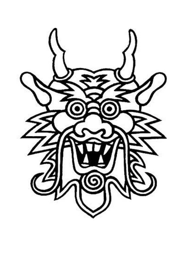 Coloring page dragon mask  img 11048