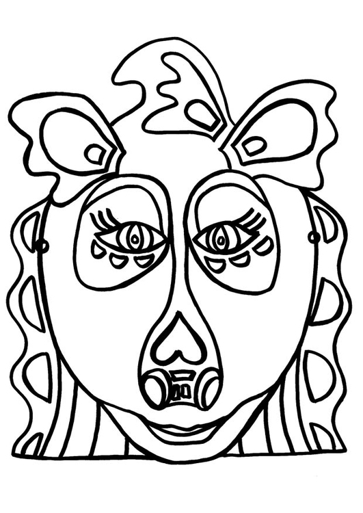 Coloring page dragon mask