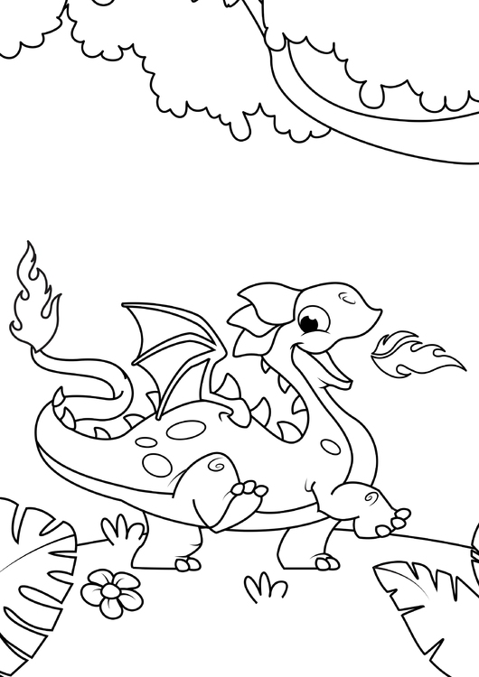 Coloring page Dragon out in the woods