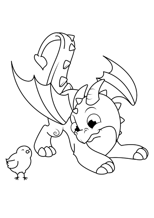 Coloring page dragon plays with chick
