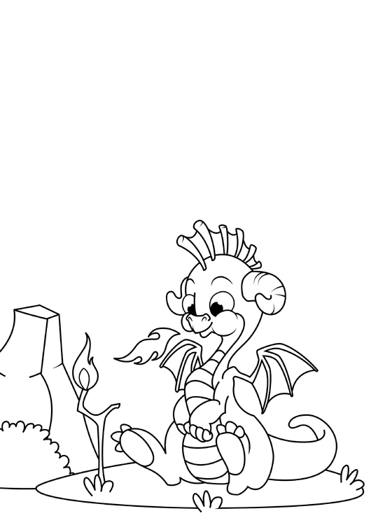 Coloring page Dragon plays with fire