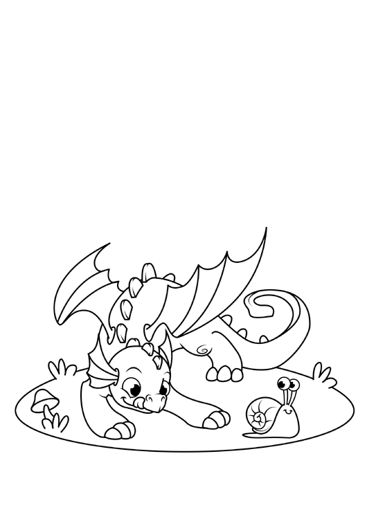 Coloring page dragon plays with snail
