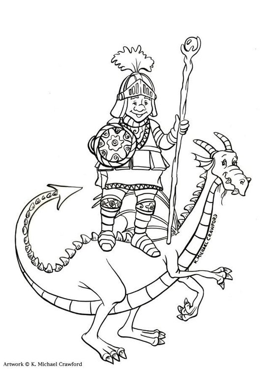 Coloring page dragon slayer