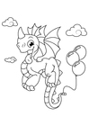 Coloring page dragon with balloons
