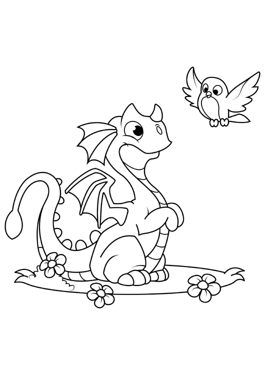 Coloring page dragon with bird