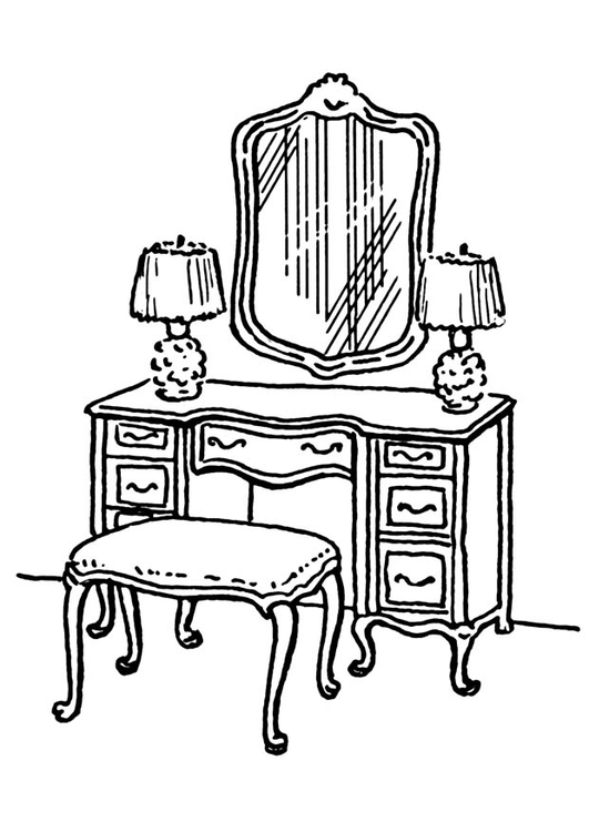 coloring page dressing table
