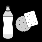 Coloring page drink and biscuit