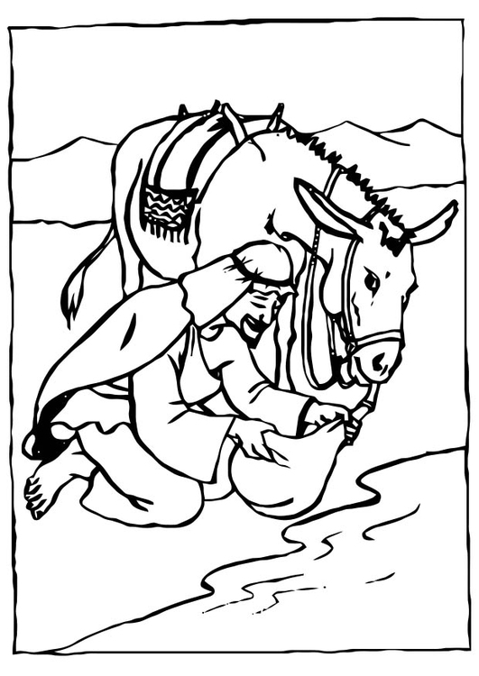 Coloring page drinking water