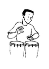 Coloring page drummer