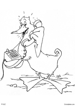 Coloring page duck with telephone