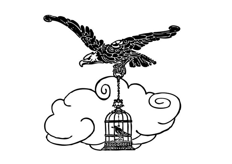 Coloring page eagle and nightengale