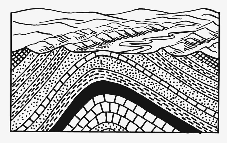 Coloring page earth layers - anticline