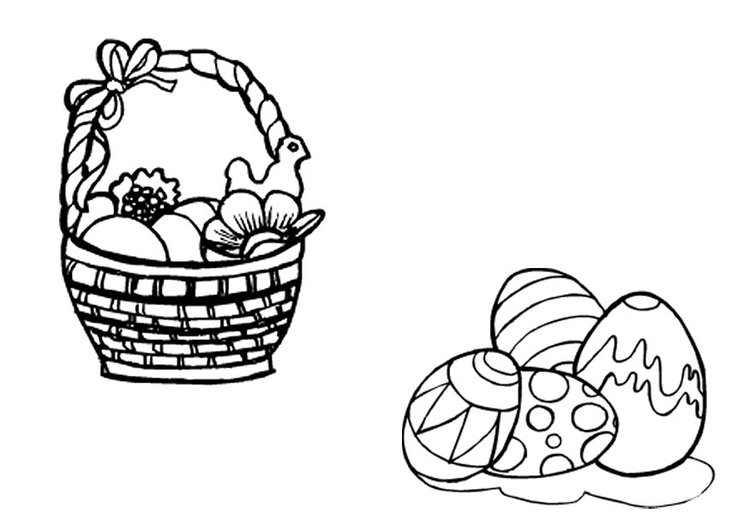 Coloring page Easter basket and Easter eggs