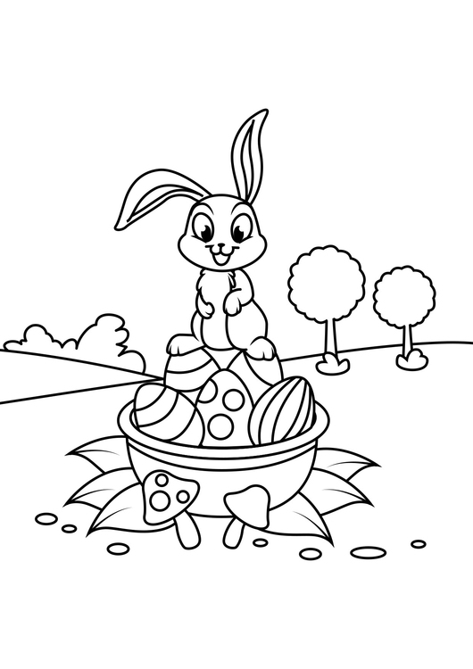 Coloring page Easter bunny on Easter basket