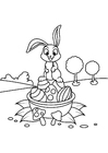 Coloring pages Easter bunny on Easter basket