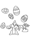 Coloring pages Easter bunny plays with Easter eggs