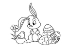 Coloring pages Easter bunny with chick