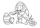 Coloring page Easter bunny with chick