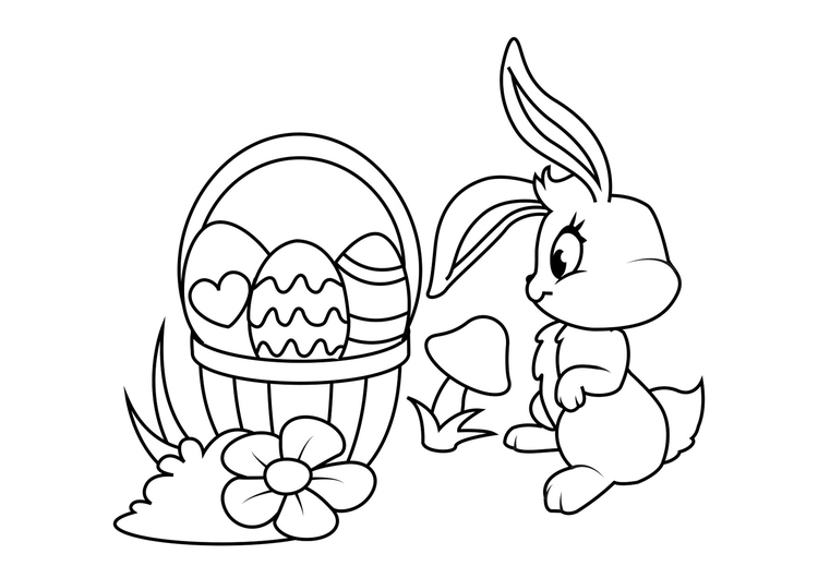 Coloring page Easter bunny with Easter basket
