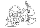 Coloring pages Easter bunny with Easter basket