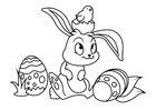 Coloring pages Easter bunny with easter chick