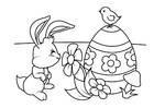 Coloring pages Easter bunny with Easter egg and chick