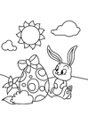 Coloring pages Easter bunny with easter egg in the garden