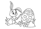 Coloring page Easter bunny with easter egg