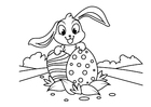 Coloring pages Easter bunny with easter eggs