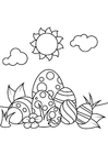 Coloring pages Easter eggs under the sun