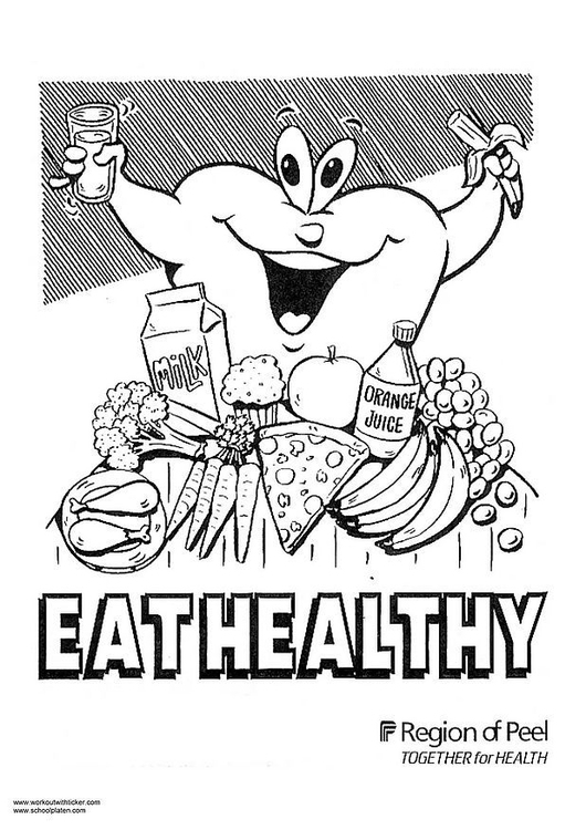 Coloring page eat healthy