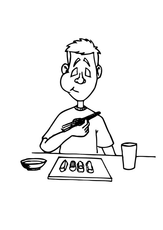 Coloring page eat sushi