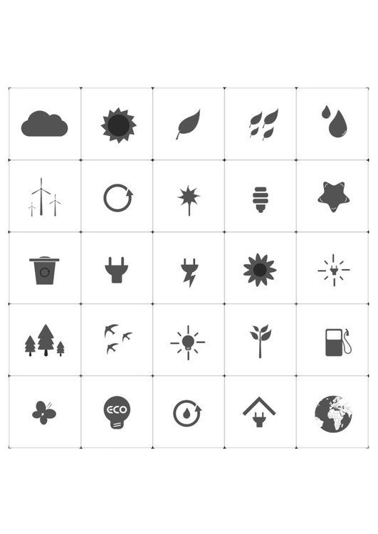 Coloring page ecological icons