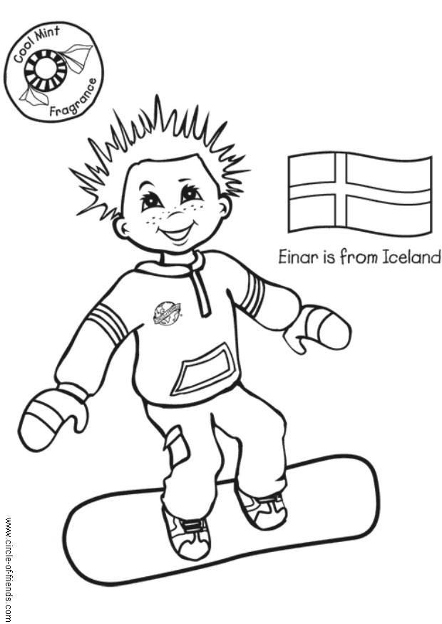 child around the world coloring pages | Coloring Page Einar from Iceland - free printable coloring ...