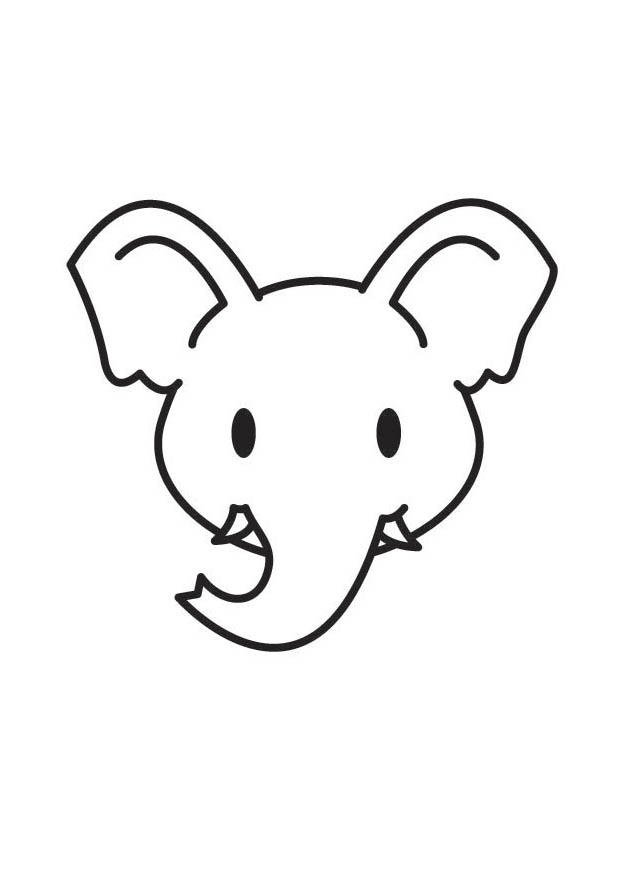 Coloring page Elephant Head - img 17801.