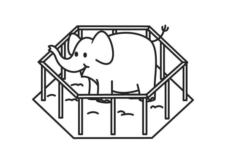 Coloring page Elephant in Cage