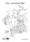 Coloring pages elephant in the zoo