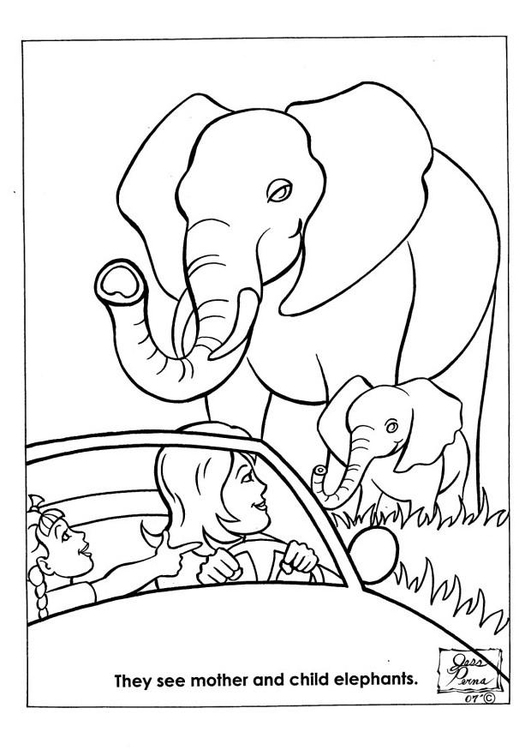 Coloring page elephants