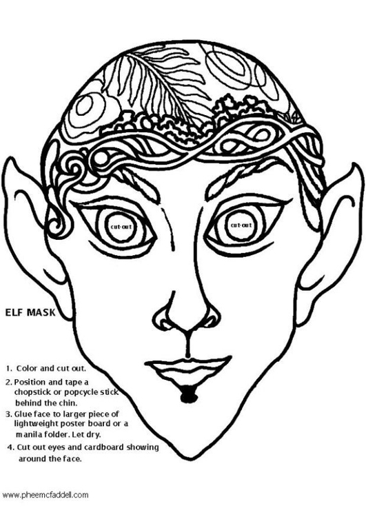 Coloring page elf mask