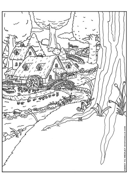 Coloring page elf village