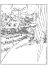 Coloring pages elf village