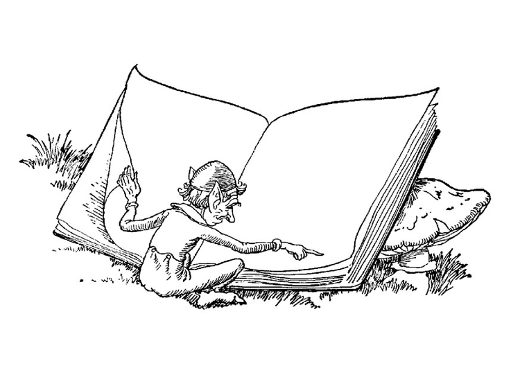 Coloring page elf with book