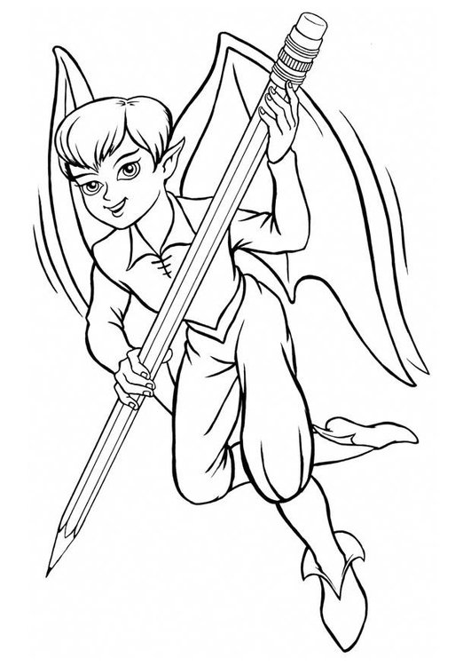 Coloring page elf with pencil