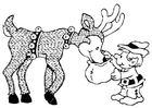 Coloring pages elf with reindeer
