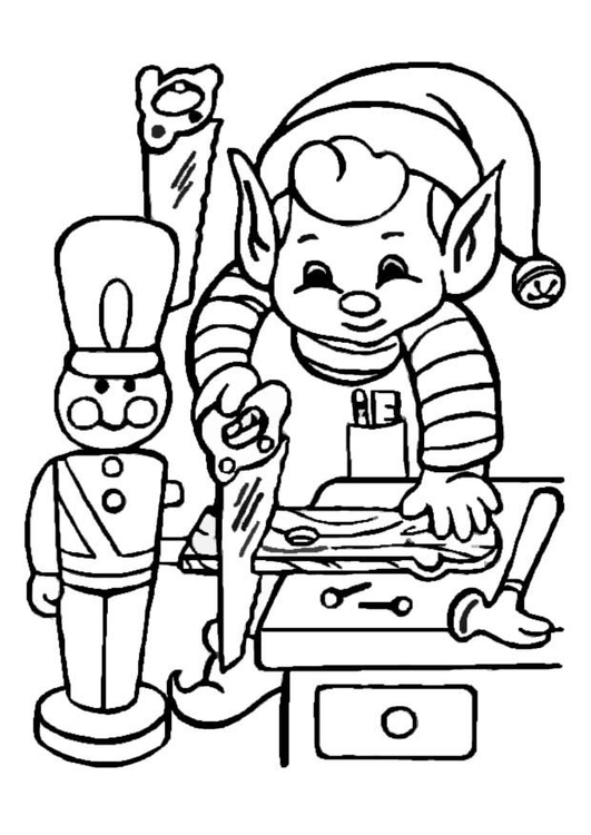 Coloring page Elf  working