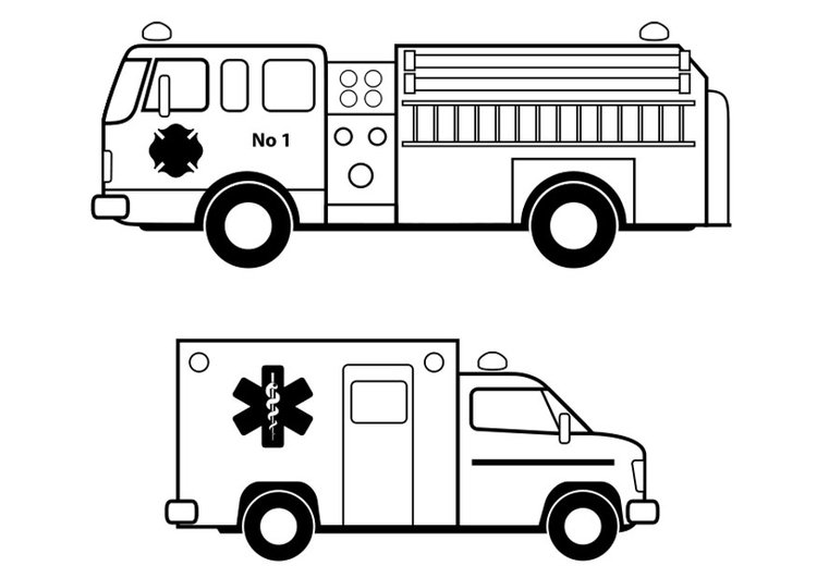 Coloring page emergency services