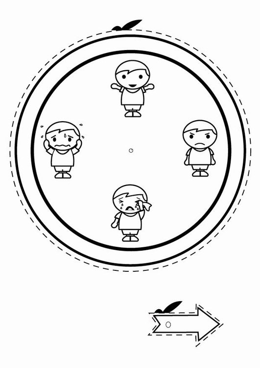 Coloring page emotion clock - boys