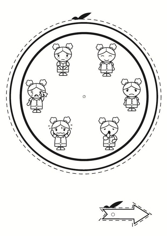 Coloring page emotion clock